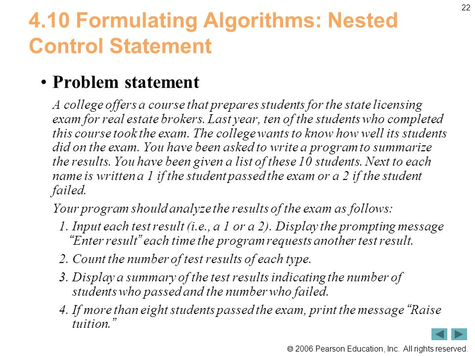 4.10 Formulating Algorithms: Nested Control Statement