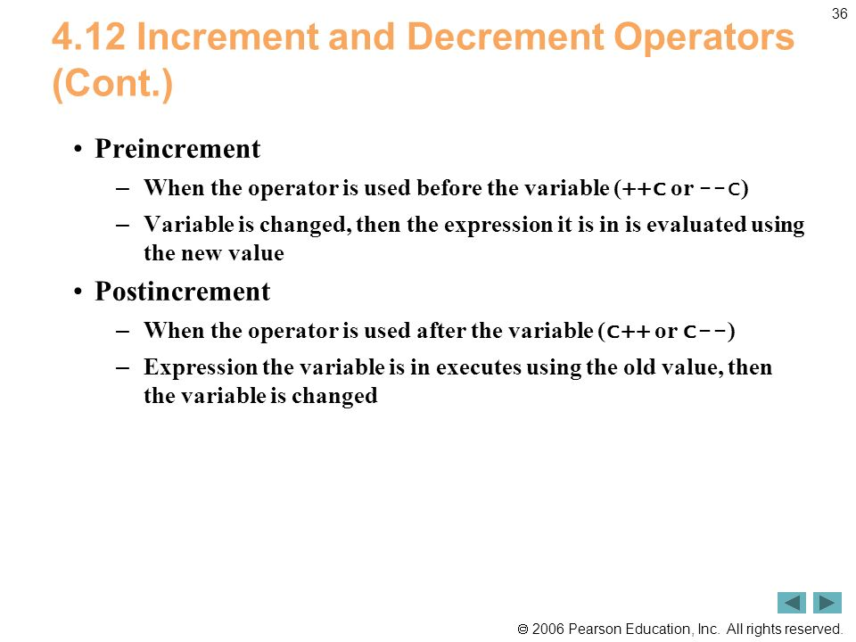 4.12 Increment and Decrement Operators (Cont.)
