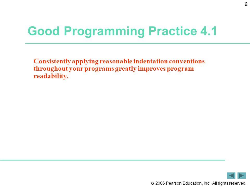Good Programming Practice 4.1