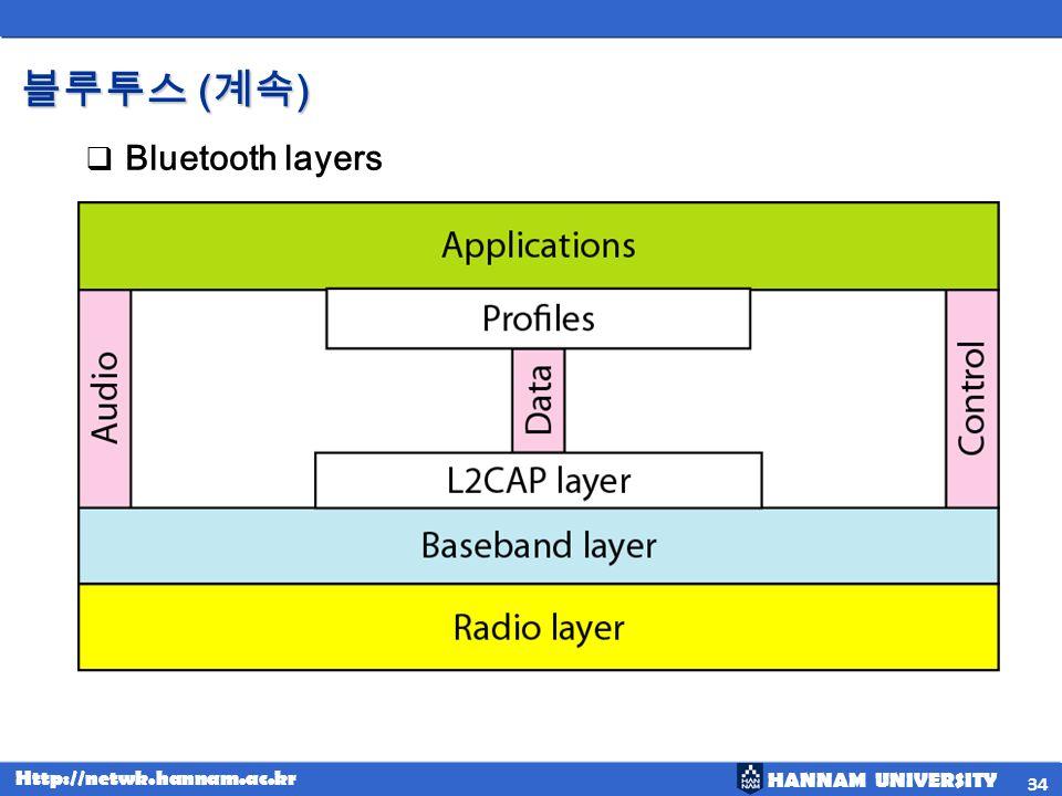 블루투스 (계속) Bluetooth layers