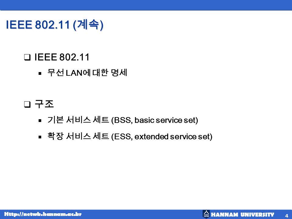 IEEE 802.11 (계속) IEEE 802.11 구조 무선 LAN에 대한 명세