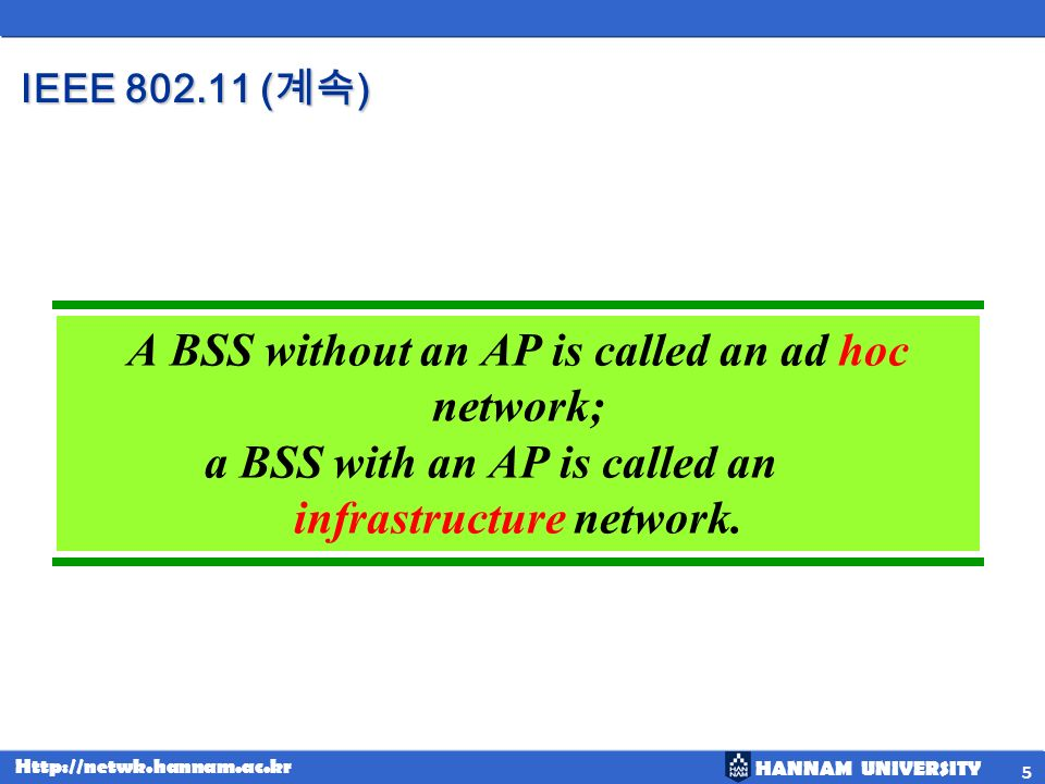 A BSS without an AP is called an ad hoc network;