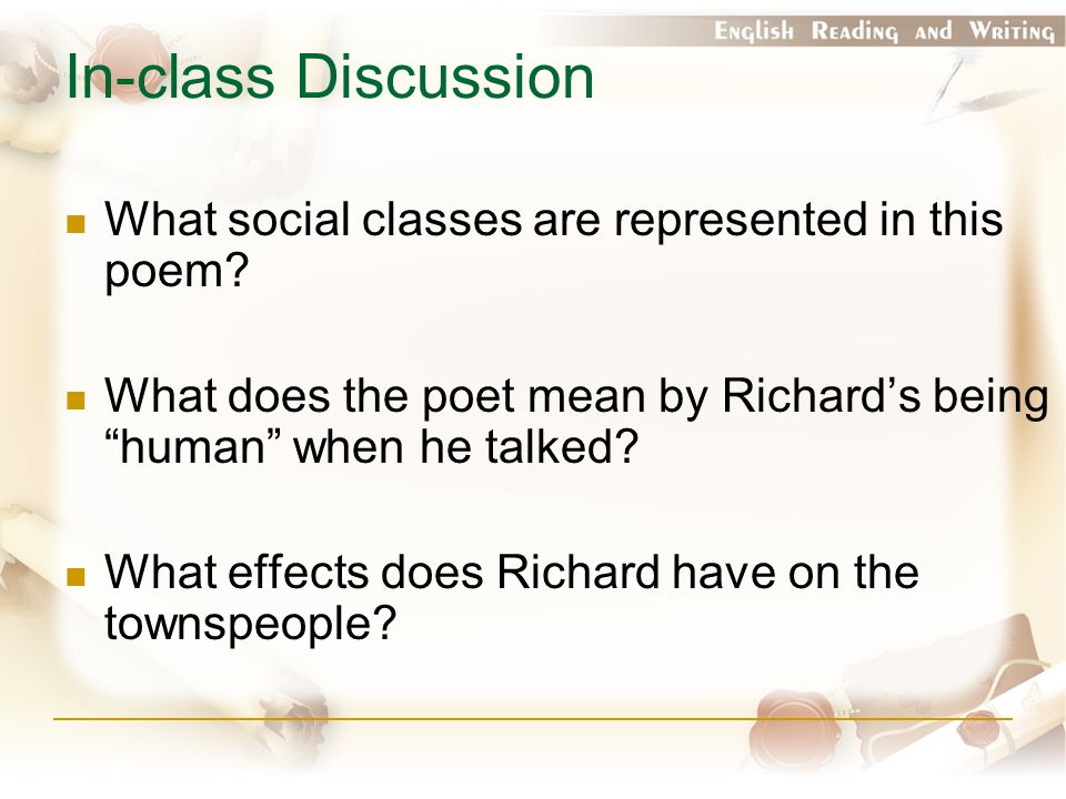 In-class Discussion What social classes are represented in this poem