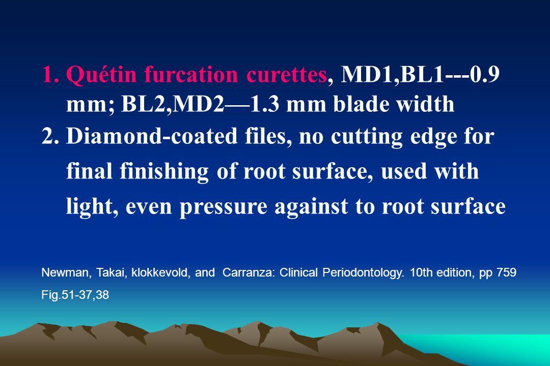Quétin furcation curettes, MD1,BL1---0. 9 mm; BL2,MD2—1