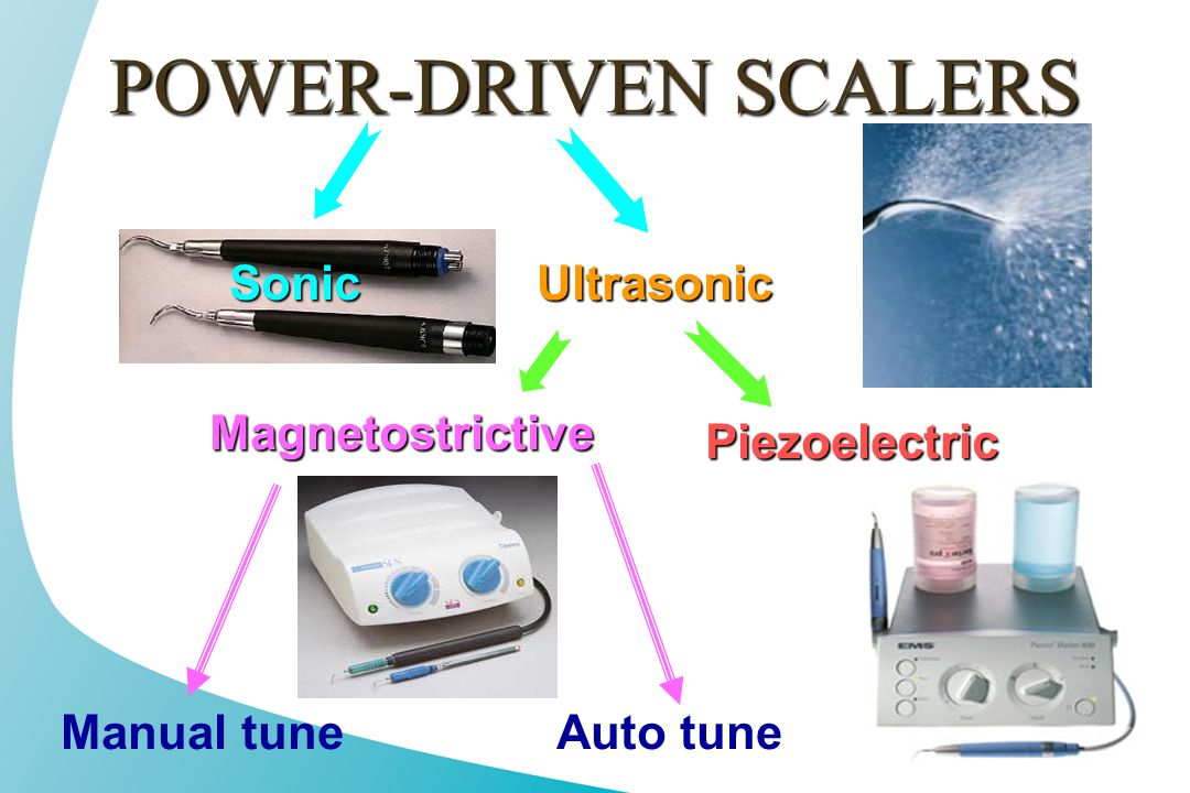 POWER-DRIVEN SCALERS Sonic Ultrasonic Magnetostrictive Piezoelectric