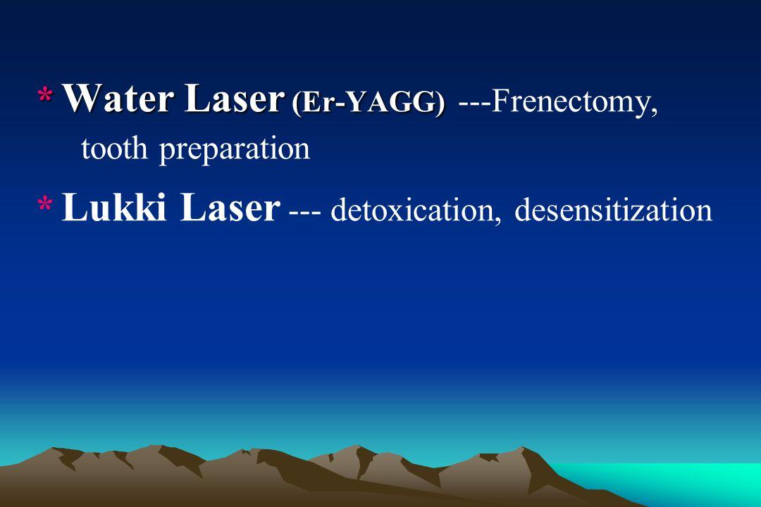 * Water Laser (Er-YAGG) ---Frenectomy, tooth preparation