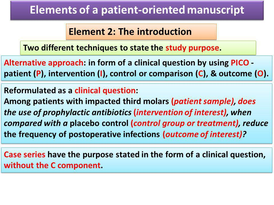Elements of a patient-oriented manuscript