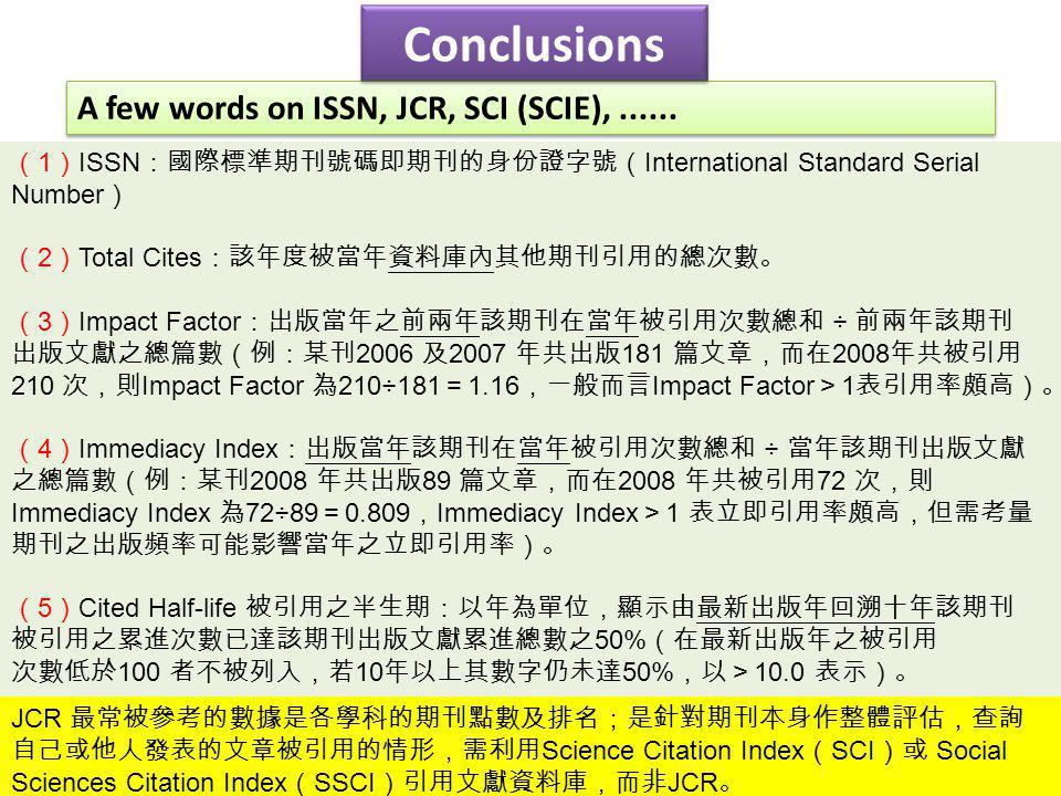 Conclusions A few words on ISSN, JCR, SCI (SCIE), ......