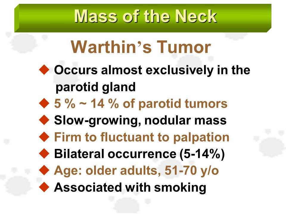 Mass of the Neck Warthin's Tumor Occurs almost exclusively in the