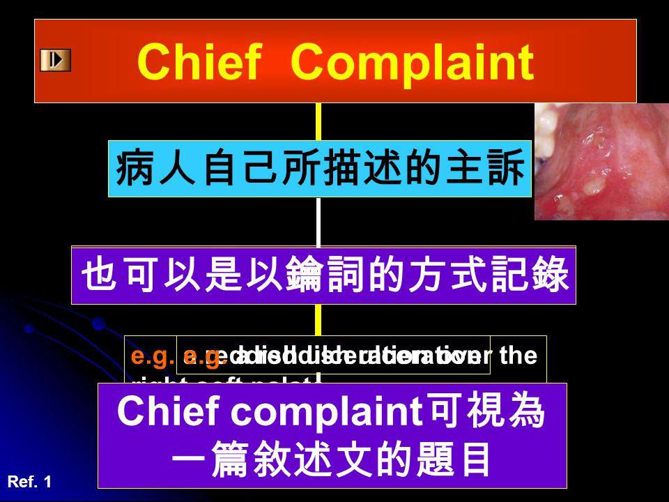 Chief Complaint 病人自己所描述的主訴 可以是以完整的句子寫下來 也可以是以鑰詞的方式記錄