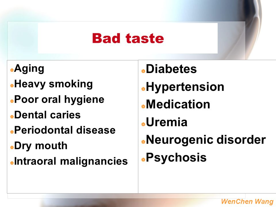 Bad taste Diabetes Hypertension Medication Uremia Neurogenic disorder