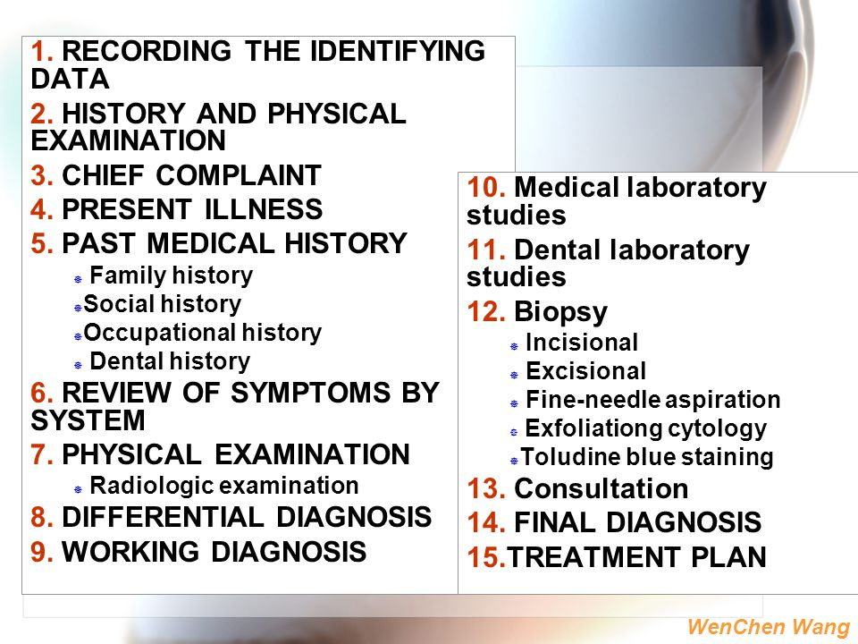 1. RECORDING THE IDENTIFYING DATA 2. HISTORY AND PHYSICAL EXAMINATION