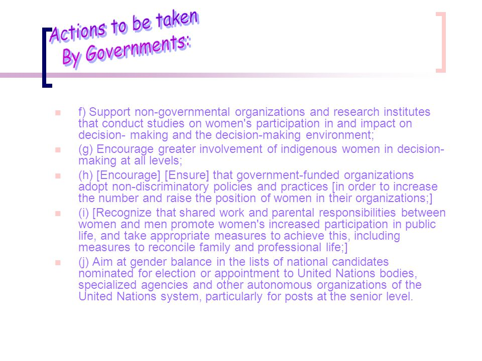 Actions to be taken By Governments: