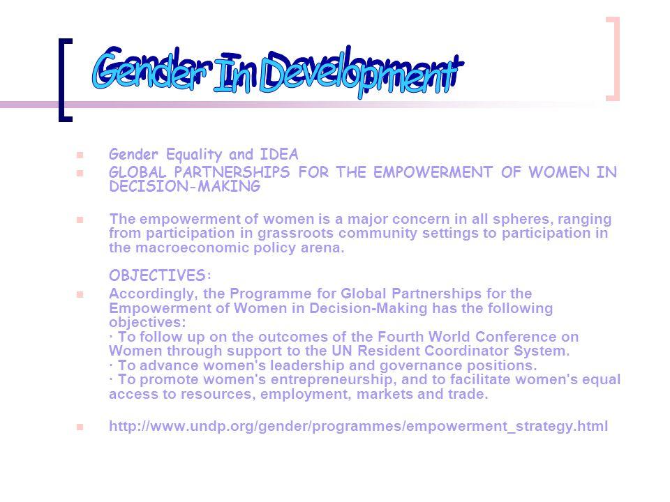 Gender In Development Gender Equality and IDEA