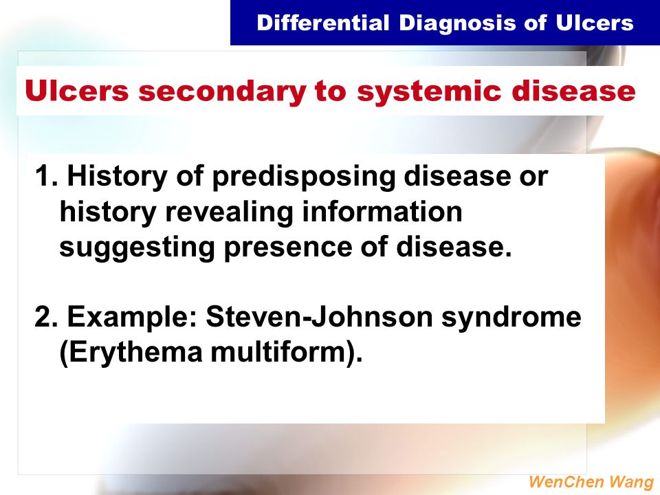 Ulcers secondary to systemic disease
