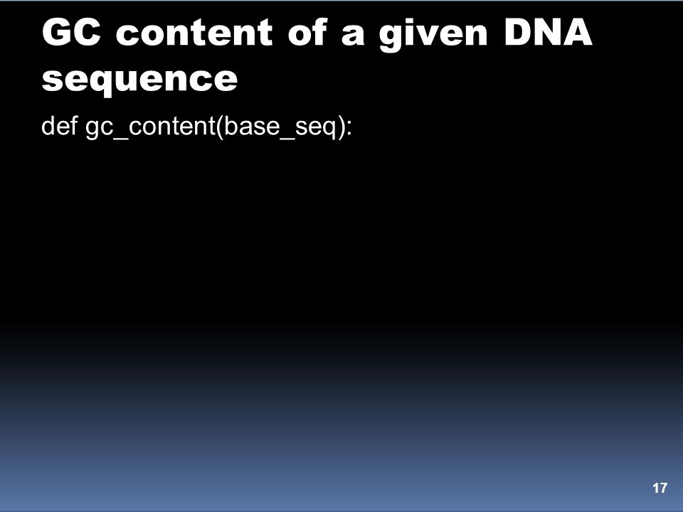GC content of a given DNA sequence