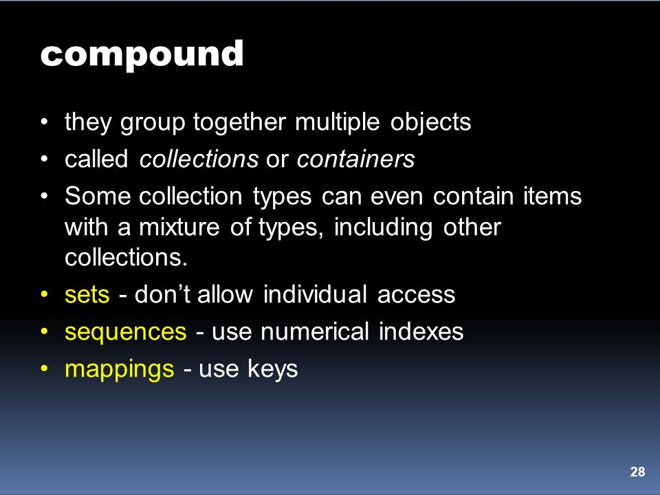 compound they group together multiple objects