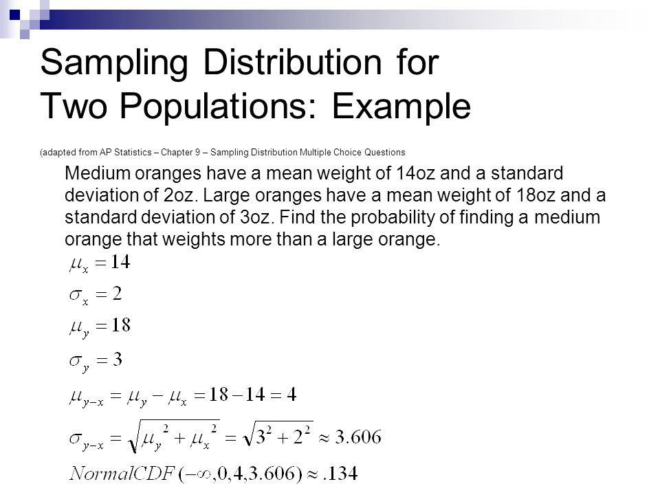 Sampling Distribution for Two Populations: Example