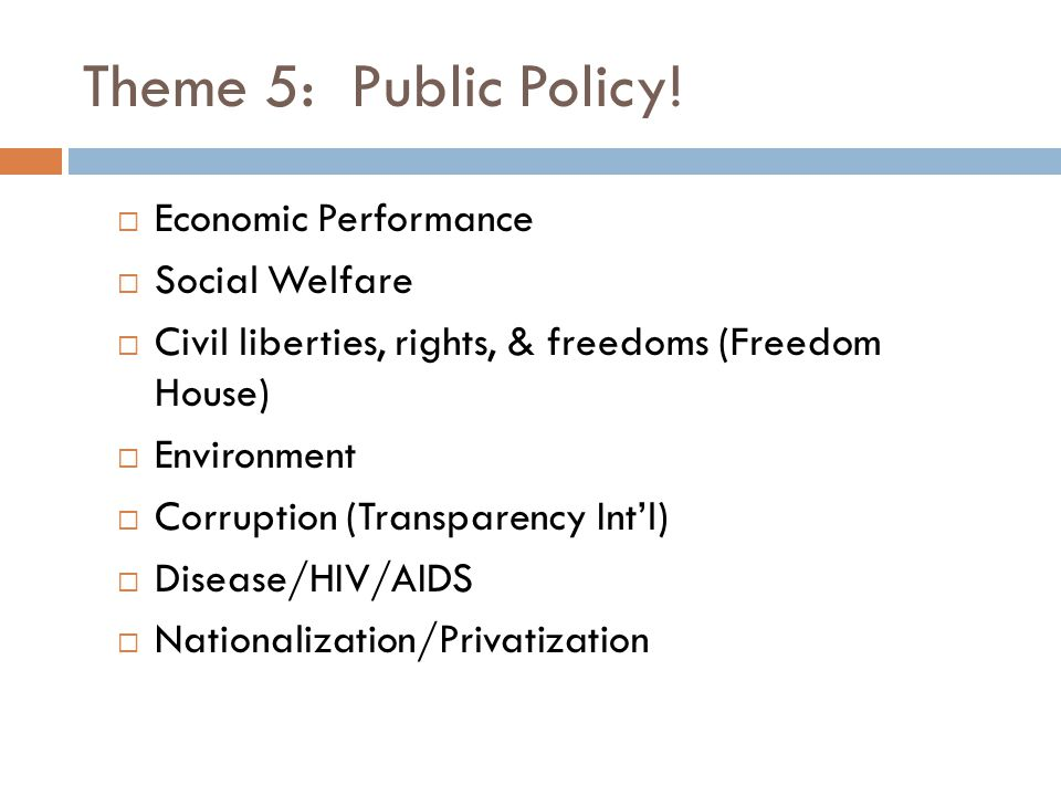 Theme 5: Public Policy! Economic Performance Social Welfare
