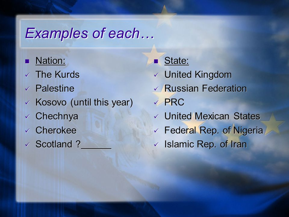 Examples of each… Nation: The Kurds Palestine Kosovo (until this year)