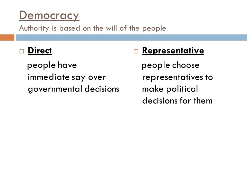 Democracy Authority is based on the will of the people