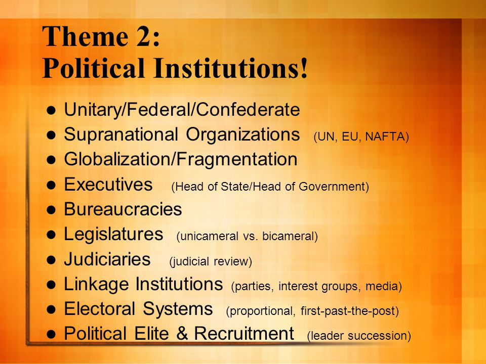 Theme 2: Political Institutions!