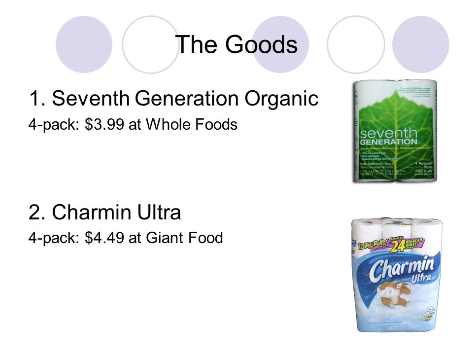 The Goods 1. Seventh Generation Organic 2. Charmin Ultra