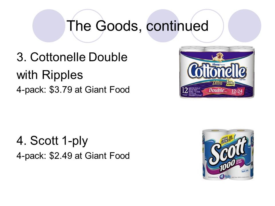 The Goods, continued 3. Cottonelle Double with Ripples 4. Scott 1-ply