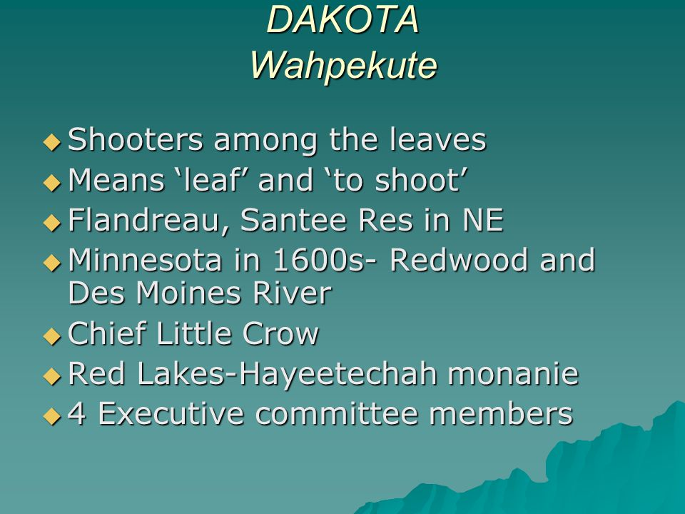 DAKOTA Wahpekute Shooters among the leaves Means 'leaf' and 'to shoot'