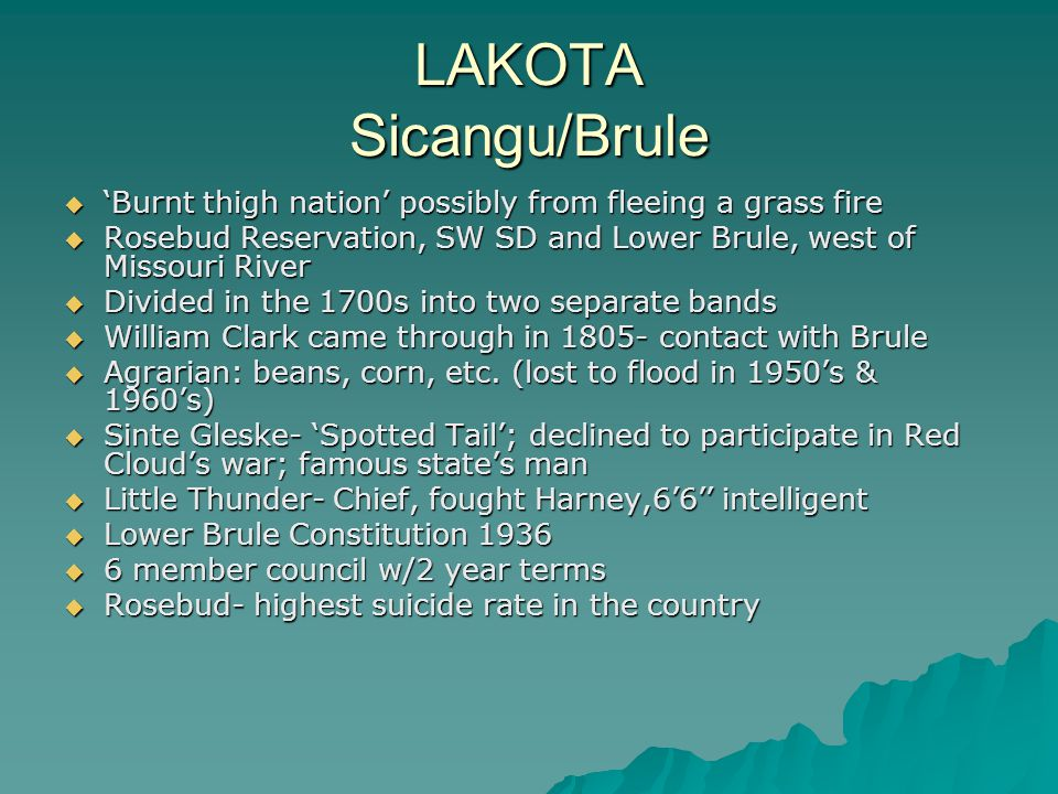 LAKOTA Sicangu/Brule 'Burnt thigh nation' possibly from fleeing a grass fire. Rosebud Reservation, SW SD and Lower Brule, west of Missouri River.