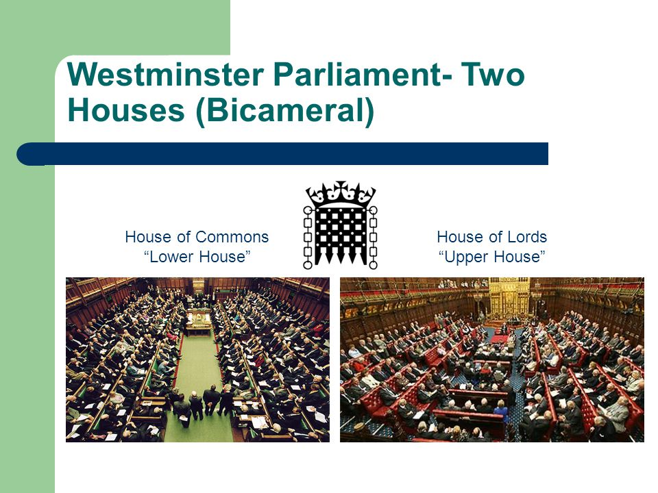 Westminster Parliament- Two Houses (Bicameral)