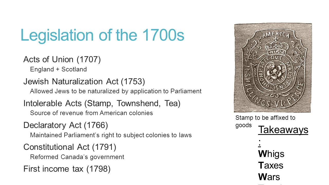 Legislation of the 1700s Takeaways: Whigs Taxes Wars Treaties