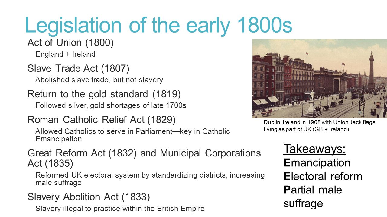 Legislation of the early 1800s