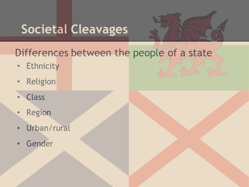 Societal Cleavages Differences between the people of a state Ethnicity