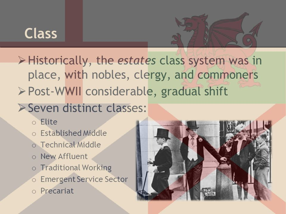 Class Historically, the estates class system was in place, with nobles, clergy, and commoners. Post-WWII considerable, gradual shift.