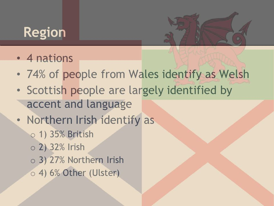 Region 4 nations 74% of people from Wales identify as Welsh