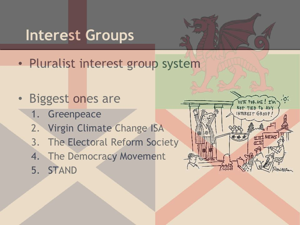 Interest Groups Pluralist interest group system Biggest ones are