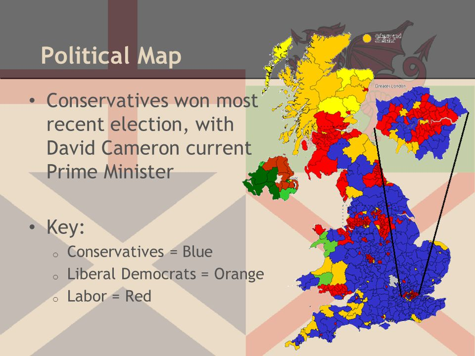 Political Map Conservatives won most recent election, with David Cameron current Prime Minister.