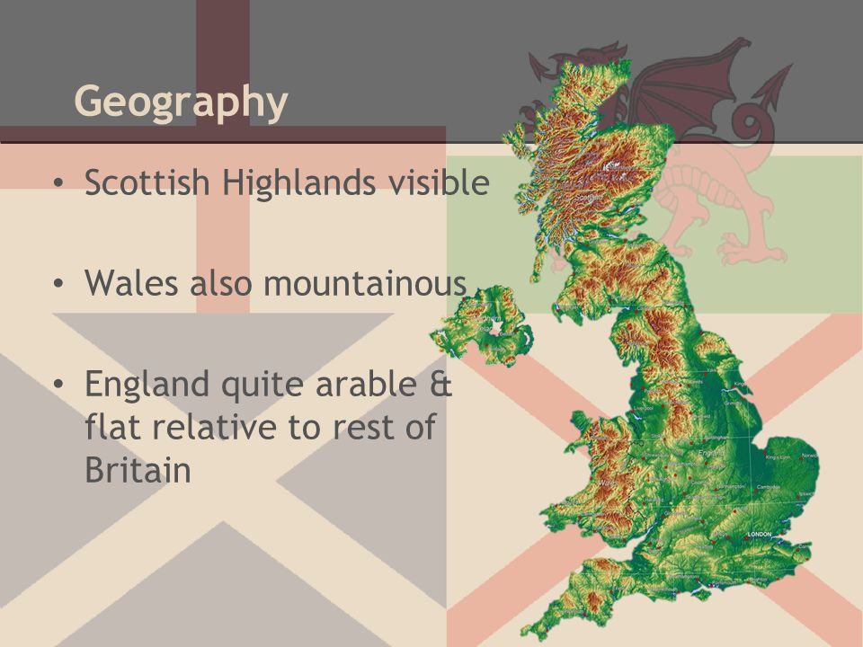 Geography Scottish Highlands visible Wales also mountainous