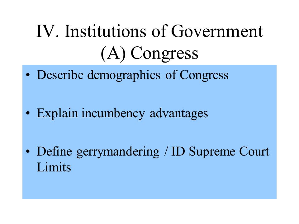 IV. Institutions of Government (A) Congress