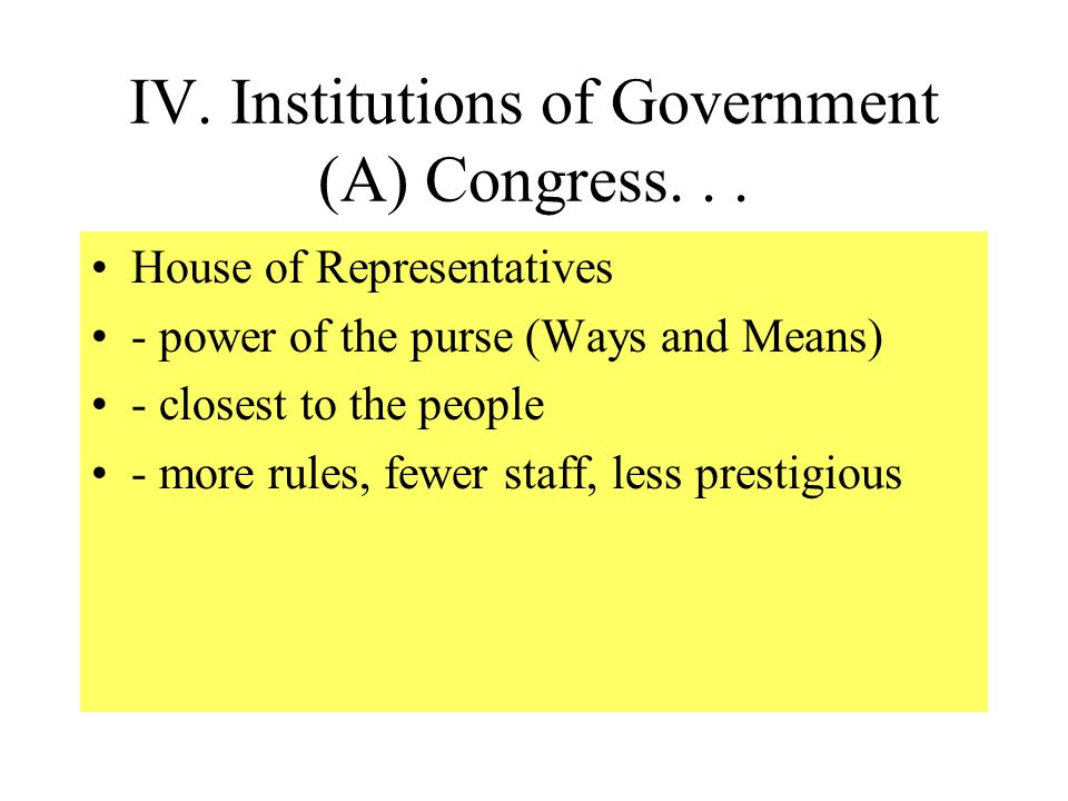 IV. Institutions of Government (A) Congress. . .