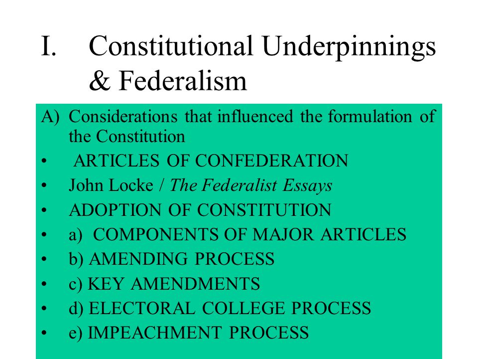 constitutional underpinnings essay questions