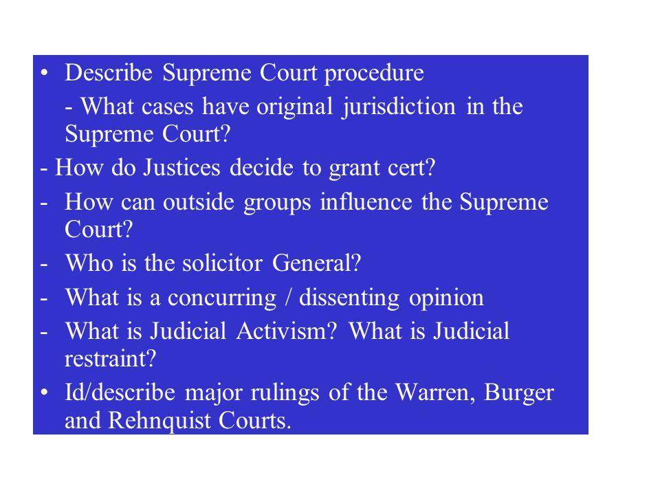Describe Supreme Court procedure