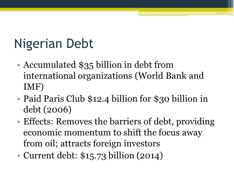 Nigerian Debt Accumulated $35 billion in debt from international organizations (World Bank and IMF)