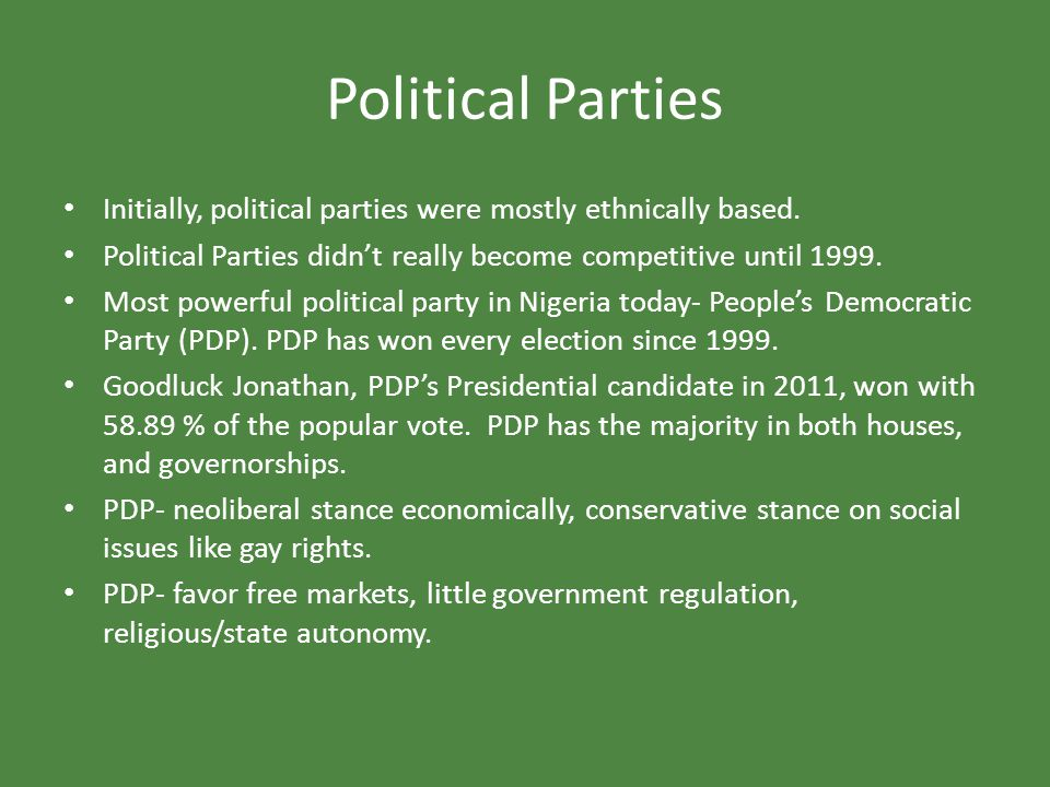 Political Parties Initially, political parties were mostly ethnically based. Political Parties didn't really become competitive until 1999.