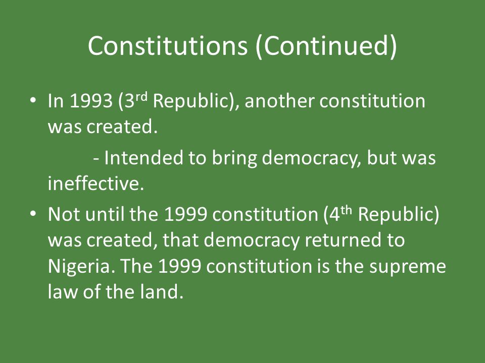 Constitutions (Continued)