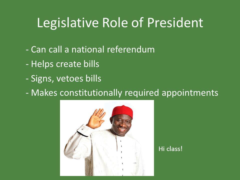 Legislative Role of President