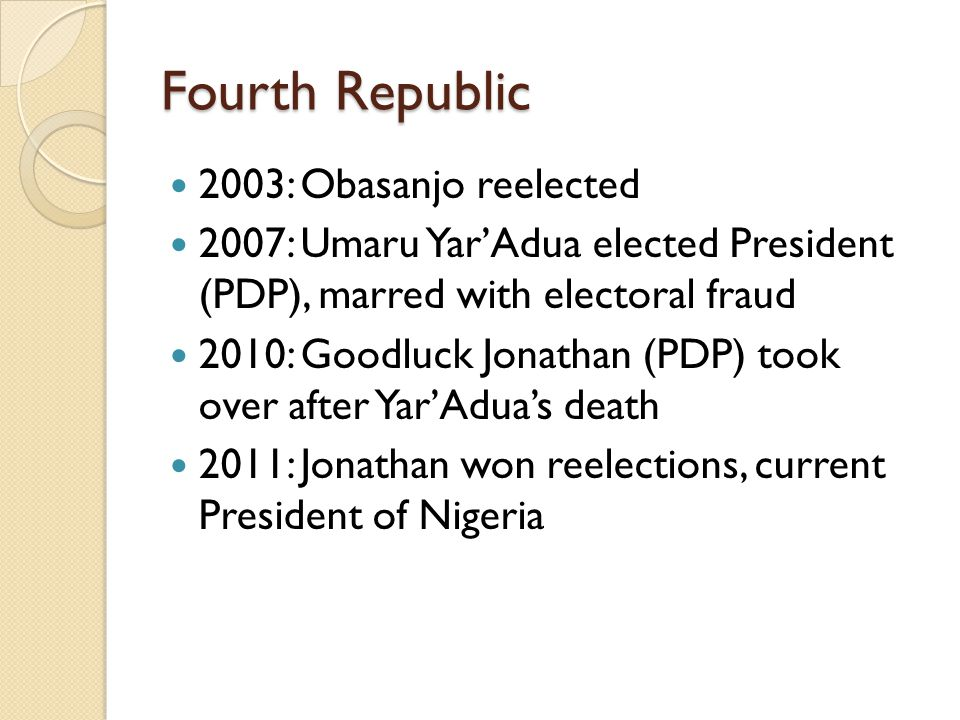 Fourth Republic 2003: Obasanjo reelected