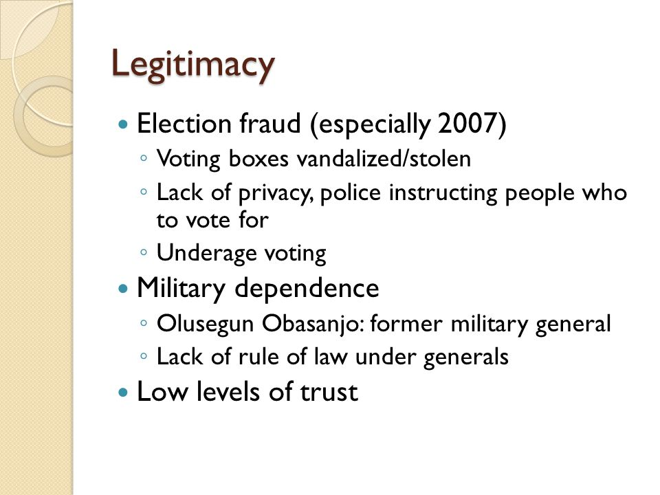 Legitimacy Election fraud (especially 2007) Military dependence