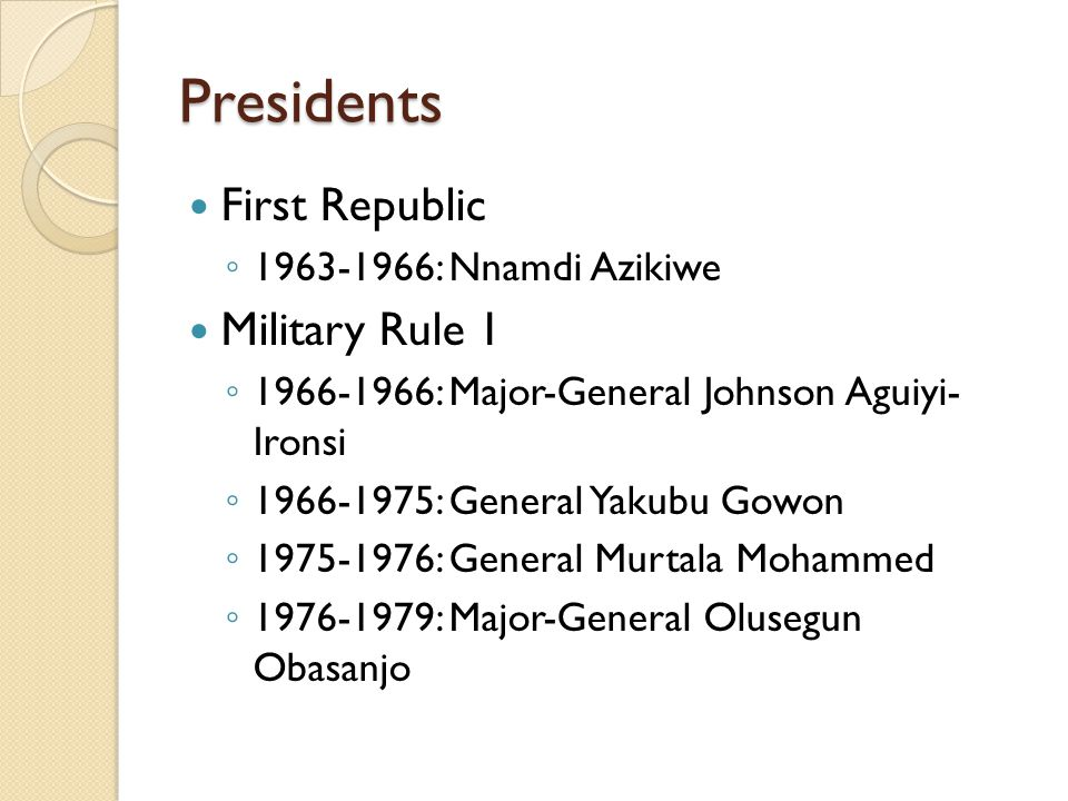 Presidents First Republic Military Rule 1 1963-1966: Nnamdi Azikiwe